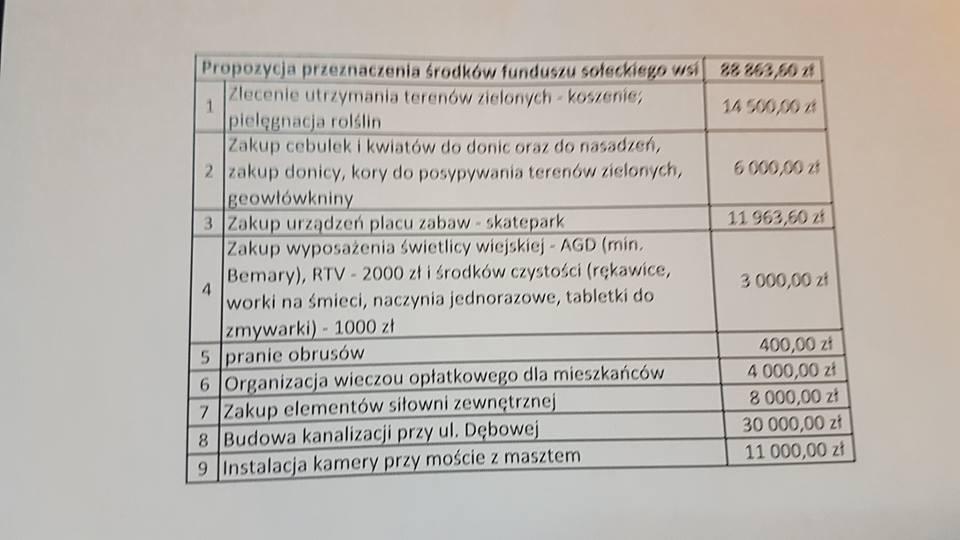 Fundusz sołecki wsi Ślęza na 2019